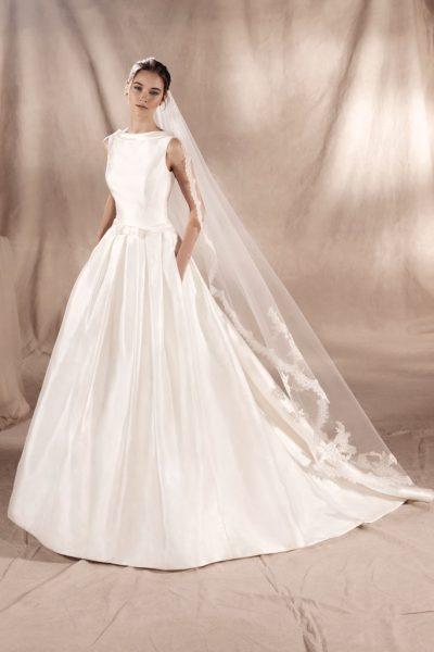 White One Sabrina Wedding Dress